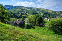 Village on a mountain  slopes Royalty Free Stock Image