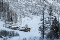 Village in mountain valley, Italy Stock Photos