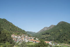 Village in mountain valley in portugal Royalty Free Stock Photo