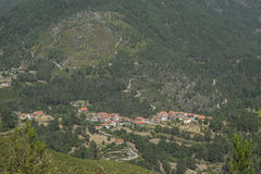 Village in mountain valley in portugal Royalty Free Stock Photos