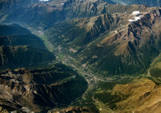 Village in the mountains of the Alps. Aerial view of village in the mountains of the Alps Stock Photography
