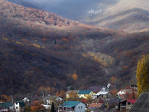 Village in the mountains, fall season Stock Image