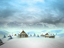 Village in the mountains with high mountain landscape Stock Photos