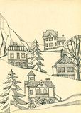 Village in mountains. Houses with trees and firs on the slope. Hand drawn ink illustration Stock Image
