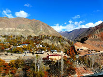 Village in the mountains. Mountain village on the road to their Dushanbe to Khujand, Tajikistan Stock Image