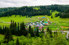 The village in the mountains of the Southern Urals. Royalty Free Stock Images