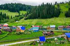 The village in the mountains of the Southern Urals. Stock Photos