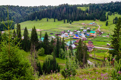 The village in the mountains of the Southern Urals. Stock Photo