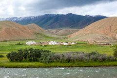 Village in mountains, Tien Shan, Kyrgyzstan Stock Image