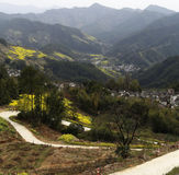 Village in the mountains, the yellow rape and winding mountain path Stock Photography