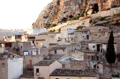 Village on mountainside stock photo