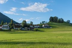 The village in moutains of Tyrol, Austria Stock Photos
