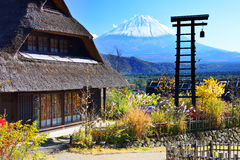 Village and Mt. Fuji royalty free stock photography