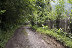 Village muddy path wooden fence. Village muddy road with wooden fence and trees Royalty Free Stock Photos