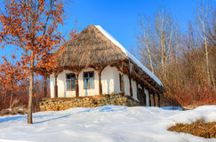 Village museum, Baia MAre - Romania. Traditional wooden house of the village museum from Baia Mare, place of Transylvania - Romania - in winter season stock images