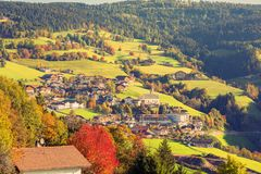 A village on the nature and mountains background. Surroundings of Merano in the province of Bolzano at the late autumn. Italy stock photo