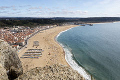 Village of Nazare seen from Sitio Royalty Free Stock Images