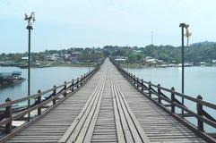 Mon bridge in Mon village. Village near border of Thai-Burma, foreigner`s passport can not cross border to Burma from Thailand in Sangkhla Buri district, Thai`s stock images