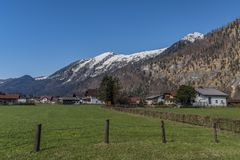 Village near Ebensee sea and town in big Alps. Village near Ebensee sea and town in big Austrian Alps Royalty Free Stock Images