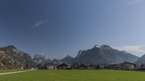 Village near Ebensee sea and town in big Alps Royalty Free Stock Image