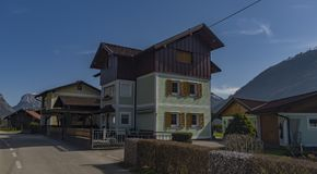 Village near Ebensee sea and town in big Alps Royalty Free Stock Photography