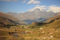 The village near Georgian Military Road Royalty Free Stock Photo