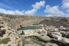 Village near inland sea in Gozo, Malta Royalty Free Stock Image