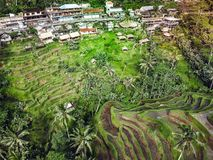 The village is near the mountain rice fields view.  Stock Images