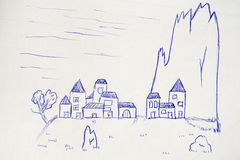 Village near a peak, sketch Royalty Free Stock Photo