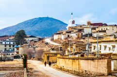 The village near Songzanlin Lamasery. Songzanlin Lamasery was described as small Potala Palace is the maximal Tibetan buddhism lamasery of Yunnan. It was located Royalty Free Stock Photography