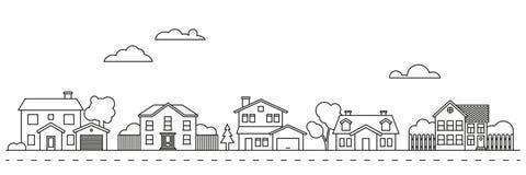 Village neighborhood vector illustration. Village neighborhood line art vector stock illustration
