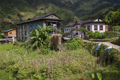 Village. Nepalese village lost among the Himalayan peaks circa October 2013 in Kharikhola Stock Photo
