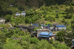Village. Nepalese village lost among the Himalayan peaks circa October 2013 in Kharikhola Royalty Free Stock Photo
