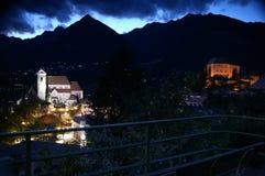 Village at night. View of mountain village at night royalty free stock photo