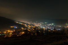 Village by night. Night scene in rural area of Valea Doftanei, Romania Royalty Free Stock Images