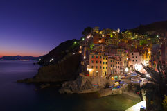 Village at night on sea side. Riomaggiore Village at night, Cinque Terre, Italy Stock Photography