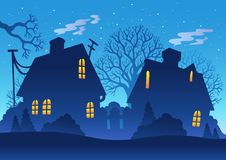 Village night silhouette Stock Photos