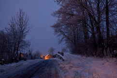 Village at night. The village snow-covered road Stock Image
