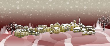 Village. In Night Time Wintry Scene Royalty Free Stock Photography