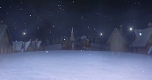 Village at night winter snowfall zoom out. Winter seasonal 4k footage with white ending screen royalty free illustration