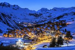 Village by night in winter. View of Saint Jean d'Arves village by night in winter, France Royalty Free Stock Photos