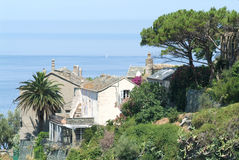 The village of Nonza on Corsica island Stock Photos