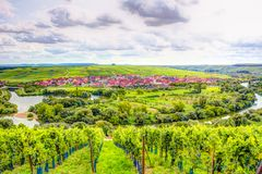 Village of Nordheim in a wine-growing district in Franconia Stock Image