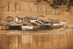 Village in North korea. In early spring Stock Photos