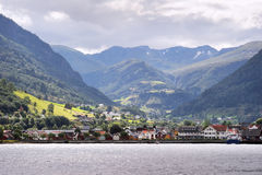 Village in Norvegian fjords Royalty Free Stock Photos