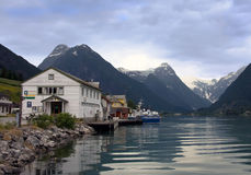 Village in Norway. Fisherman Village near a Fjord  in Norway Stock Photography