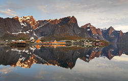 Village in norway with house, Lofoten, Reine royalty free stock photo