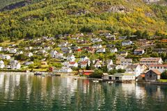 Village in Norway. Landscape with Naeroyfjord, mountains and traditional village houses in Norway Stock Images