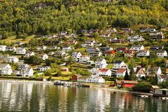 Village in Norway. Landscape with Naeroyfjord, mountains and traditional village houses in Norway Stock Image