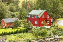 Village in Norway. Traditional wooden houses in Norwegian village Stock Photography